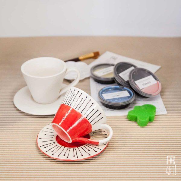 Κούπα τσαγιού ίσια & πιατάκι - Πακέτο ζωγραφικής σε κεραμικό