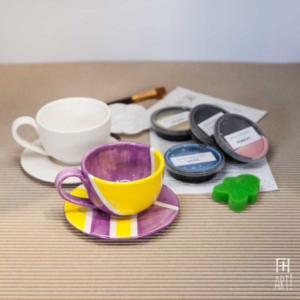Κούπα τσαγιού & πιατάκι - Πακέτο ζωγραφικής σε κεραμικό