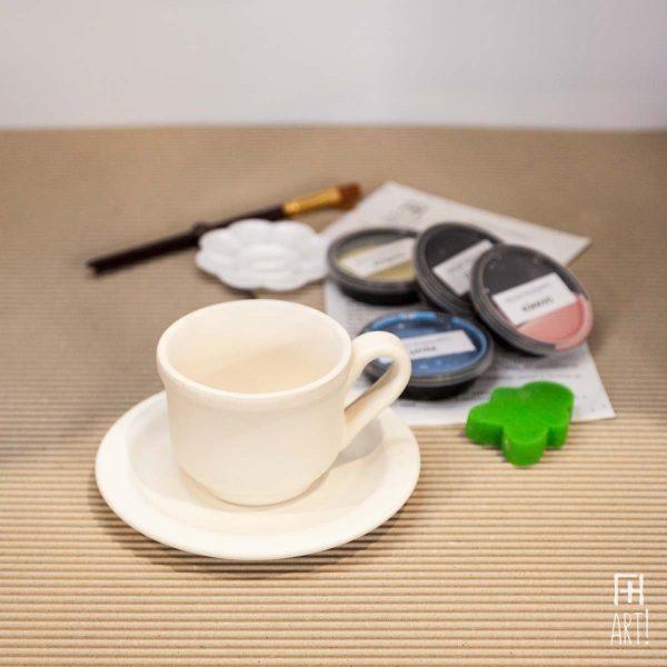 Κούπα τσαγιού παραδοσιακή & πιατάκι - Πακέτο ζωγραφικής σε κεραμικό